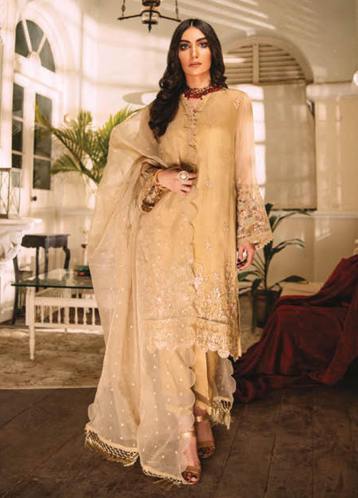 Sapphire Embroidered Organza Unstitched 3 Piece Suit SP20L Dreaming Dahlia - Spring / Summer Collection
