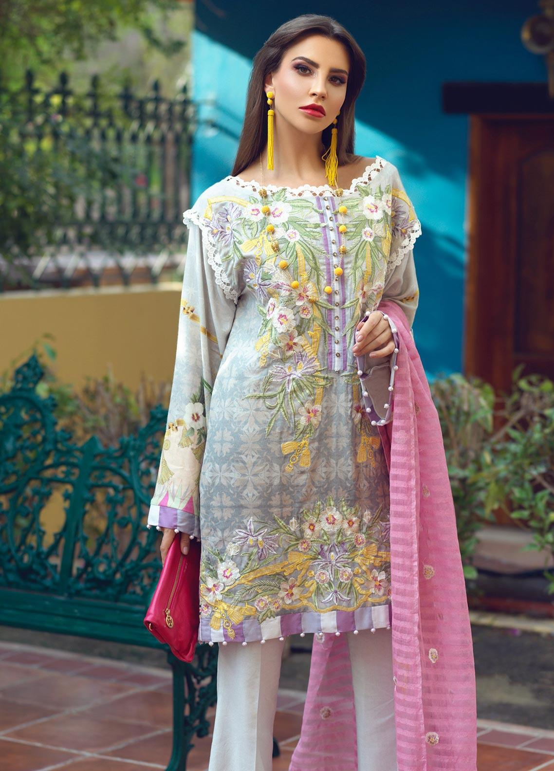 Sarang Embroidered Viscose Unstitched 3 Piece Suit SG19W SILVER CLOUD - Winter Collection