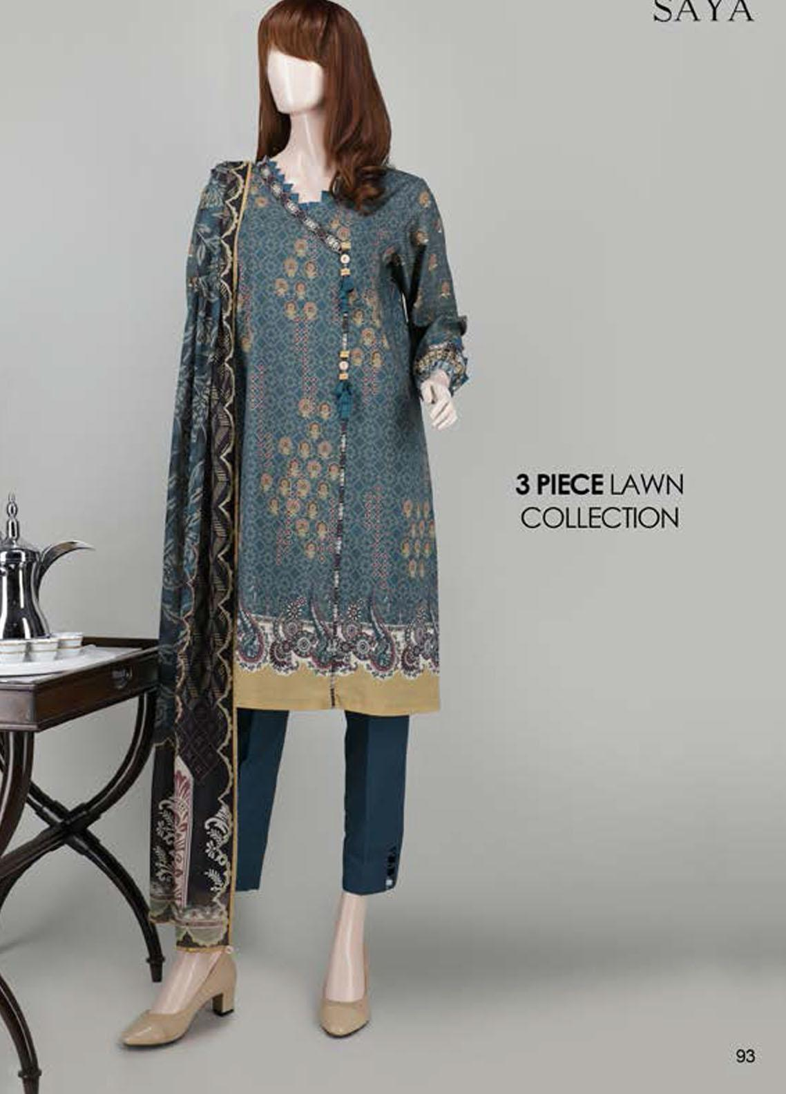 Saya Embroidered Lawn Suits Unstitched 3 Piece SY21SS RHYTHM (UG-2023-11D) - Spring / Summer Collection