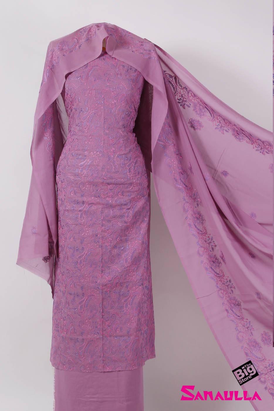 Sanaulla Exclusive Range Embroidered Swiss Voile Unstitched 3 Piece Suit SAZZ 703 Purple