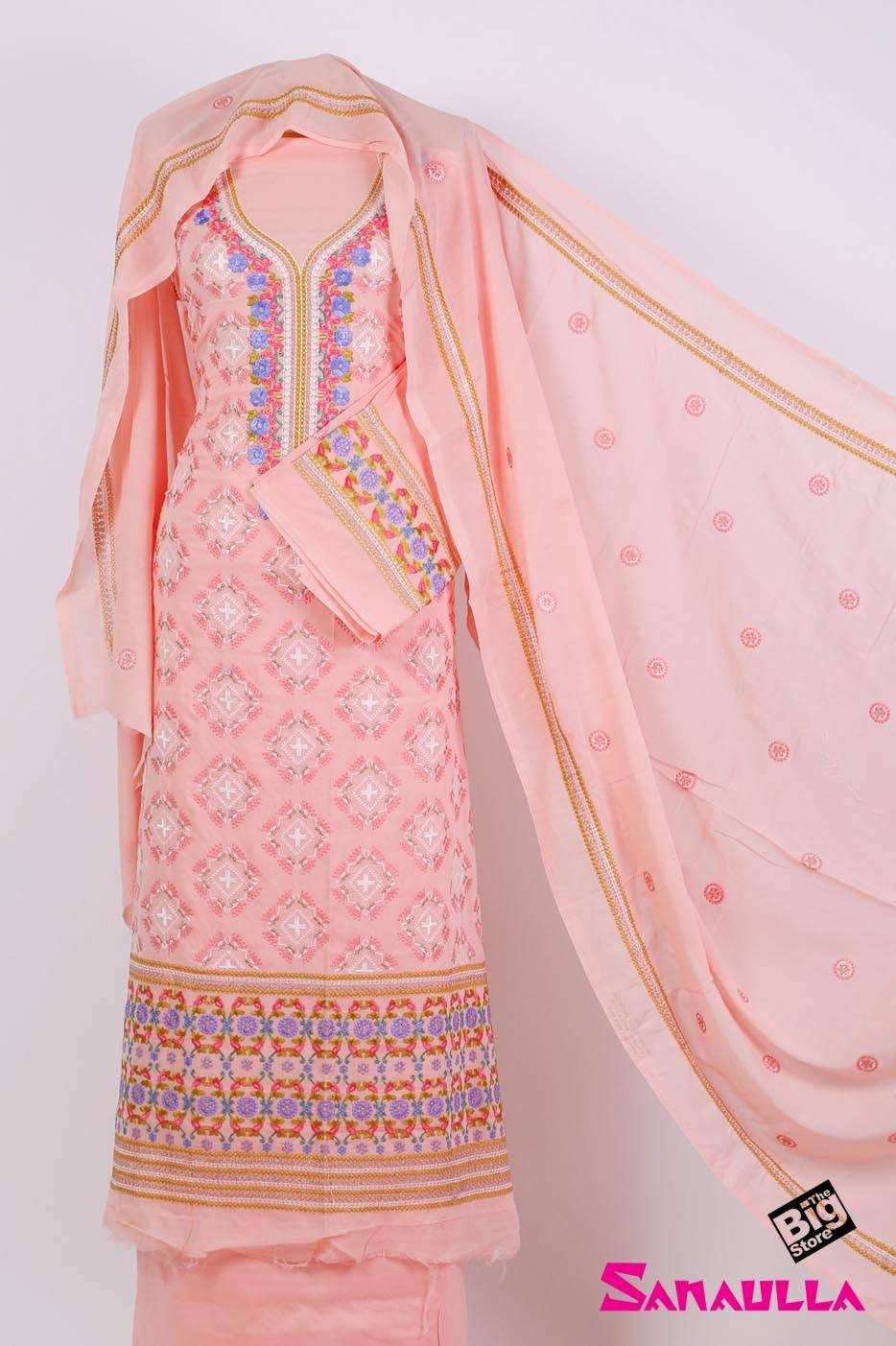 Sanaulla Exclusive Range Embroidered Swiss Voile Unstitched 3 Piece Suit SAZZ 706 Pink