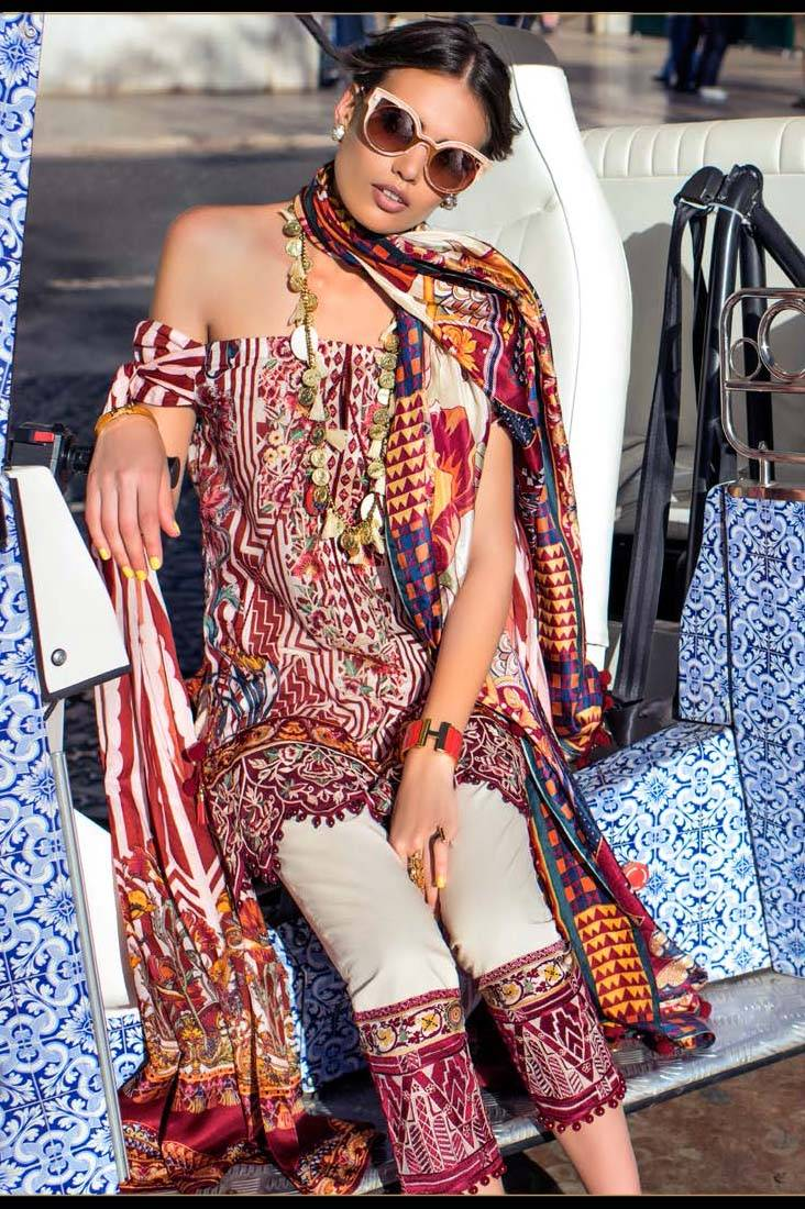 Shehla Chatoor Embroidered Lawn Unstitched 3 Piece Suit SC17L 7B