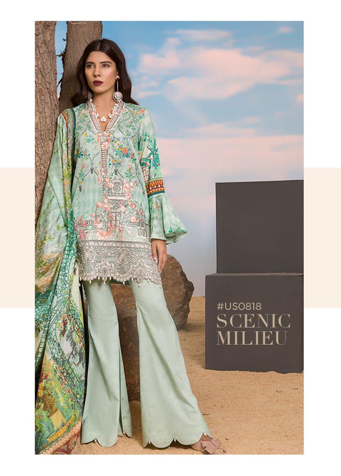 Sapphire Embroidered Cotton Unstitched 3 Piece Suit SP17W Scenic Milieu