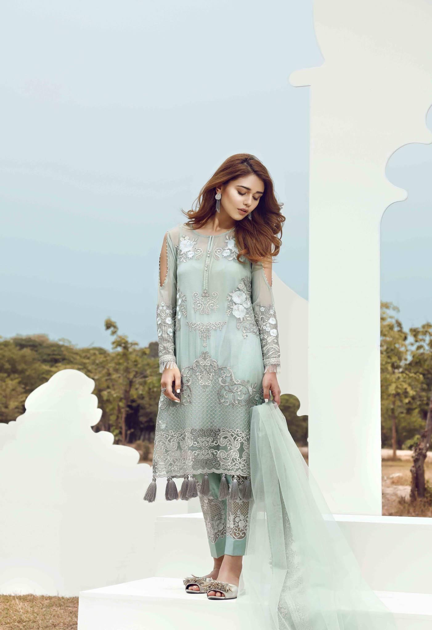 Serene Premium Embroidered Chiffon Unstitched 3 Piece Suit SE17C 04