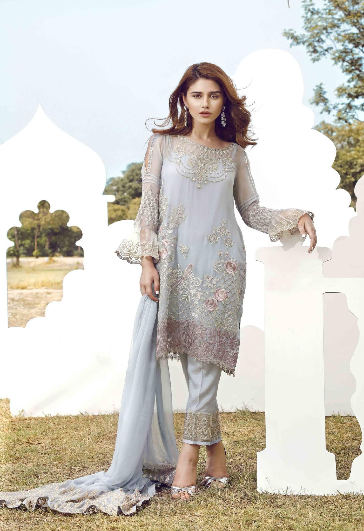 Serene Premium Embroidered Chiffon Unstitched 3 Piece Suit SE17C 07