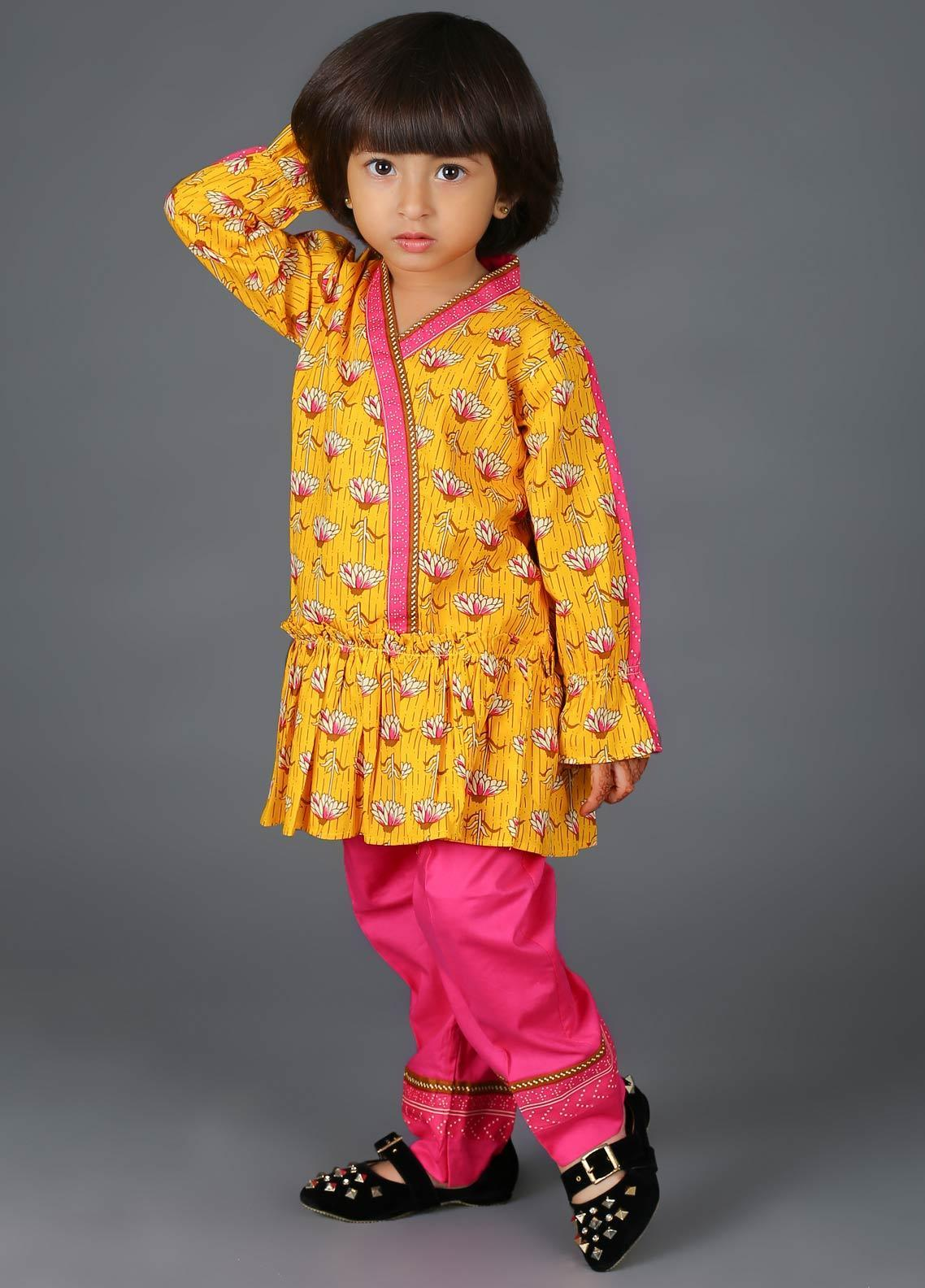 Senorita Cotton Net Fancy Girls 3 Piece Suit -  KAD-01345 YELLOW