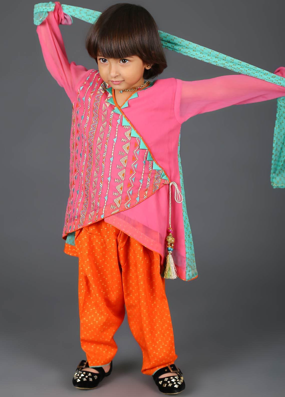 Senorita Cotton Net Fancy Girls 3 Piece Suit -  KDD-00992-PINK