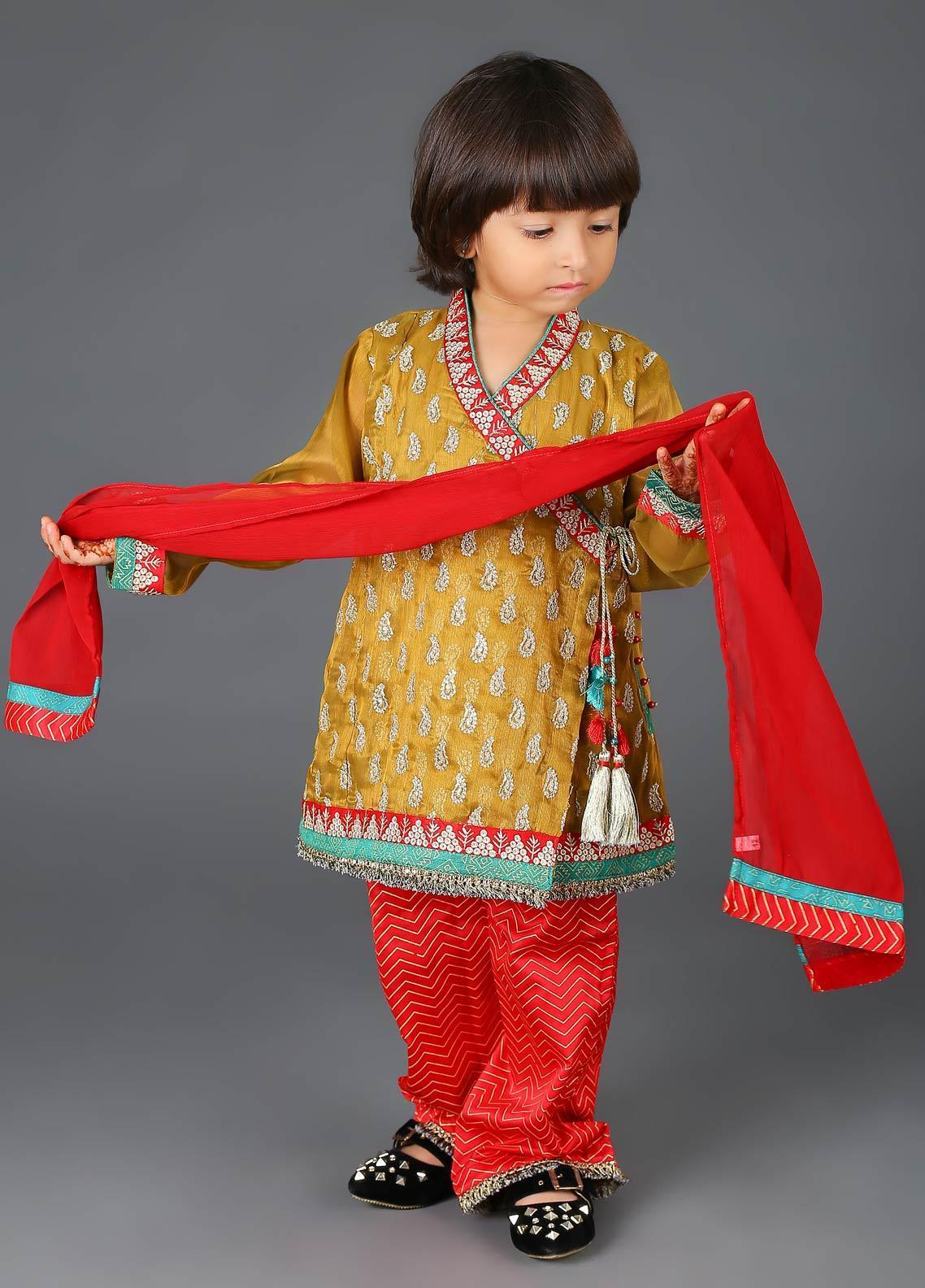 Senorita Cotton Net Fancy 3 Piece Suit for Girls -  KDD-01135-G0LD-MAROON
