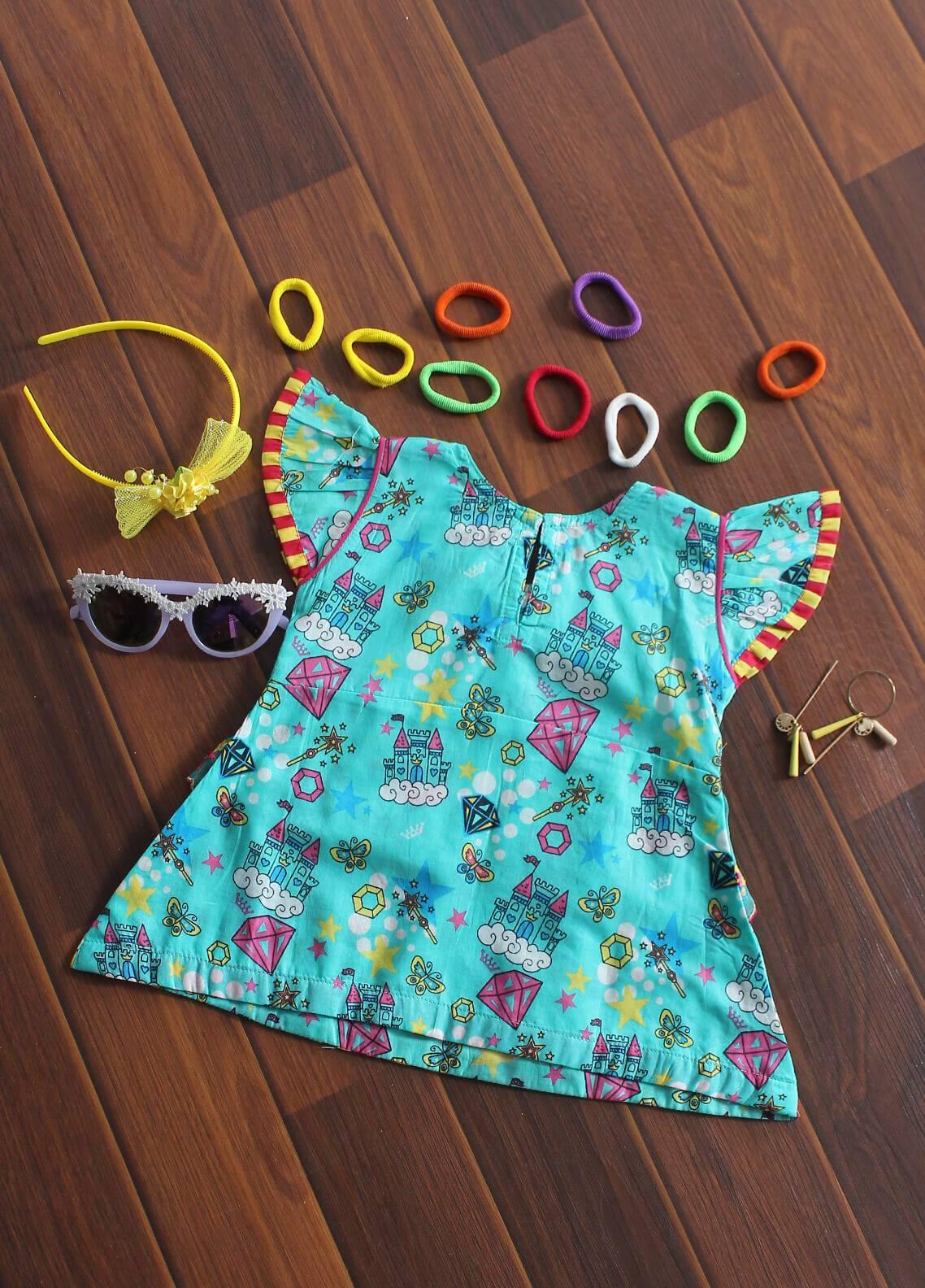 Senorita Cotton Fancy Girls Kurtis -  KAA 01176 SGN