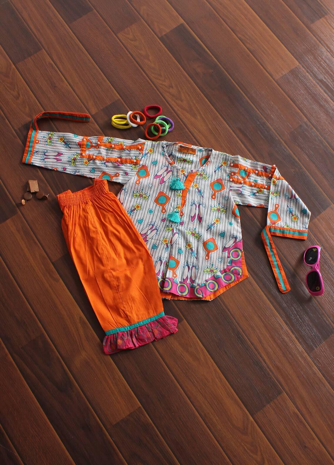 Senorita Cotton Fancy 2 Piece Suit for Girls -  KAC 01178 WHT-OGN