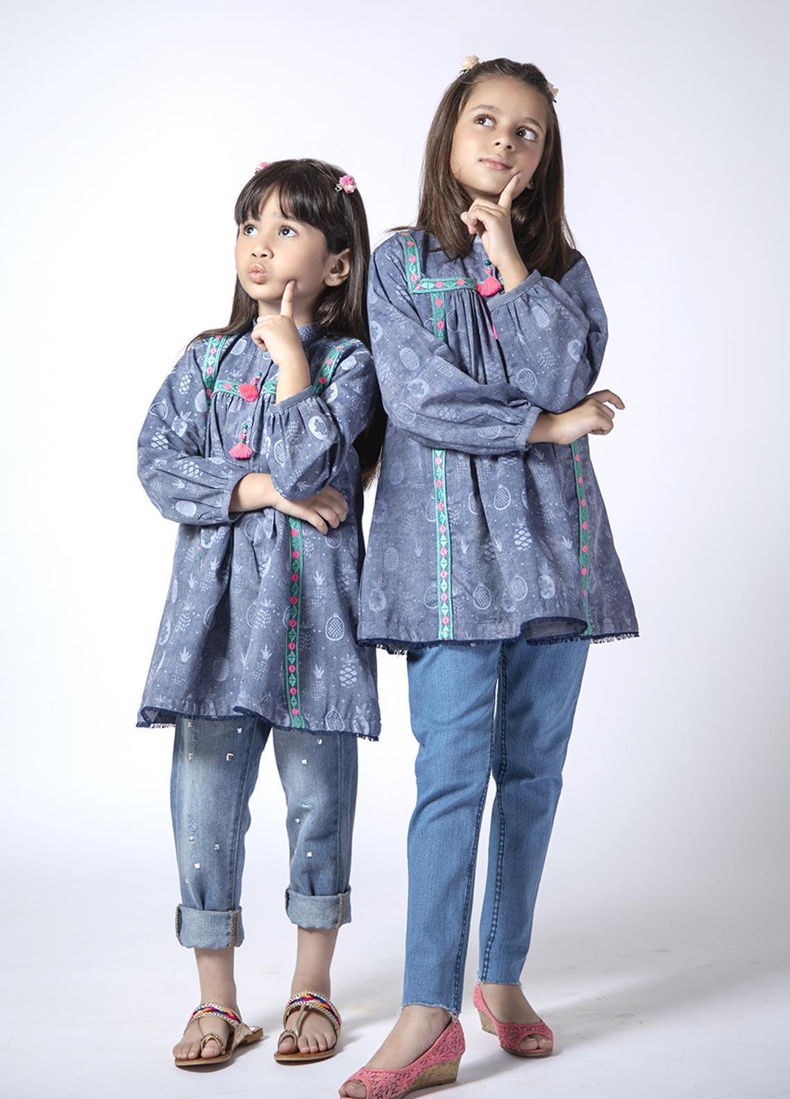 Senorita Cotton Casual Girls Kurtis - BLUE KAA-01398