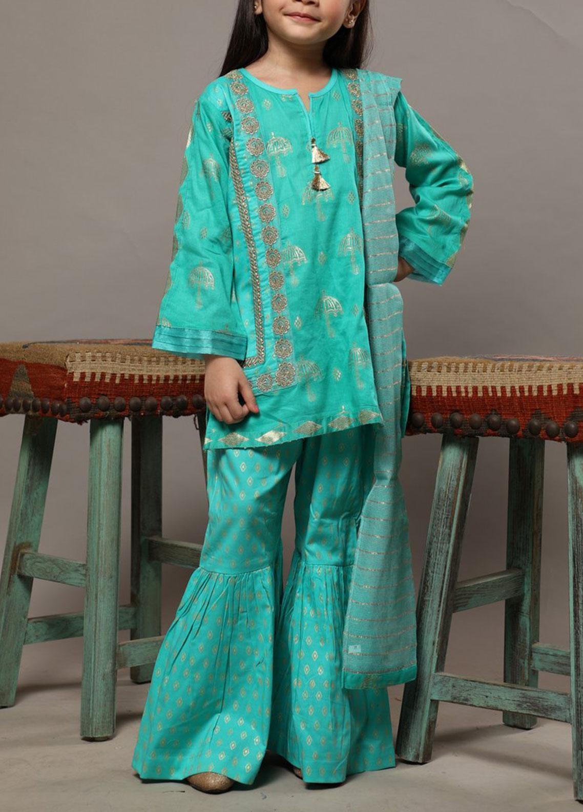 Senorita Cotton Casual 3 Piece Suit for Girls -  KBD-01246-SEA GREEN