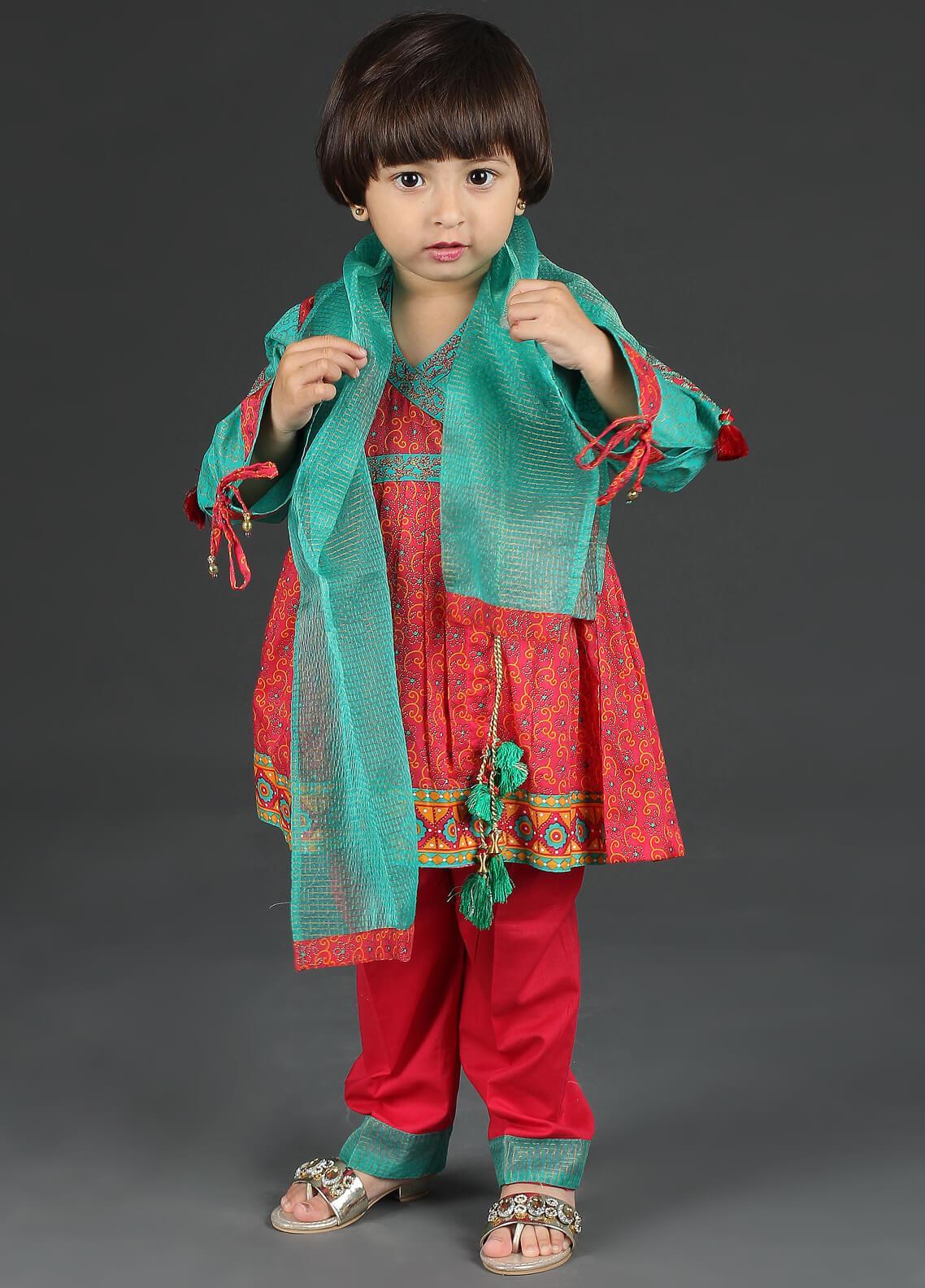 Senorita Cotton Net Fancy 3 Piece Suit for Girls -  KBD-01233 Red