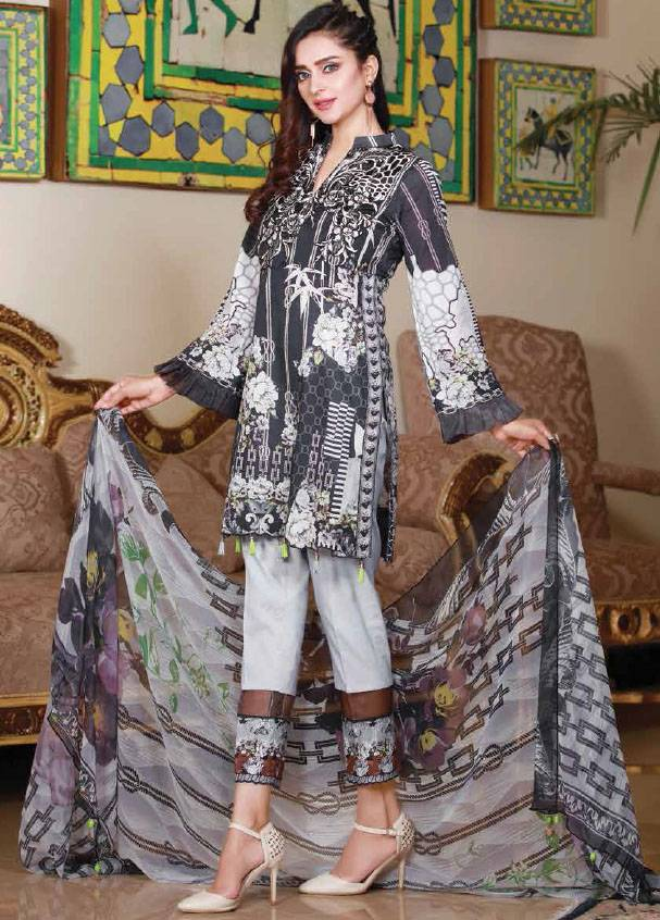 Sifona Embroidered Lawn Unstitched 3 Piece Suit SF17B 10