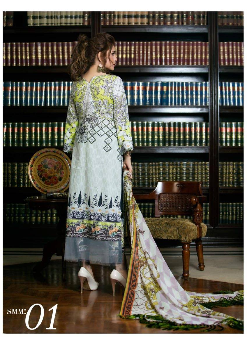 Sifona Embroidered Lawn Unstitched 3 Piece Suit SF17E2 01