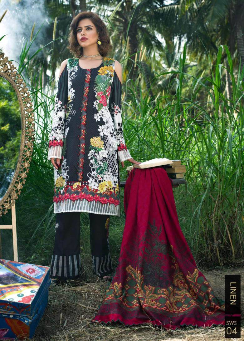 Sifona Embroidered Linen Unstitched 3 Piece Suit SF17W2 04