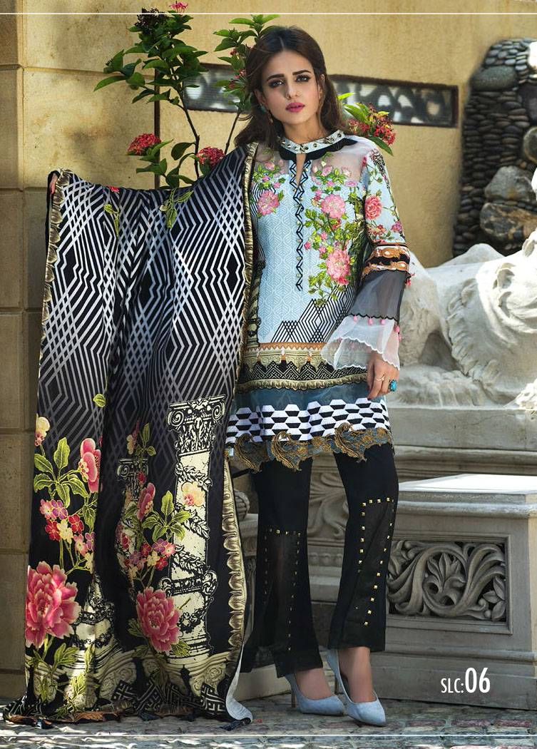 Sifona Embroidered Linen Unstitched 3 Piece Suit SF17W 06