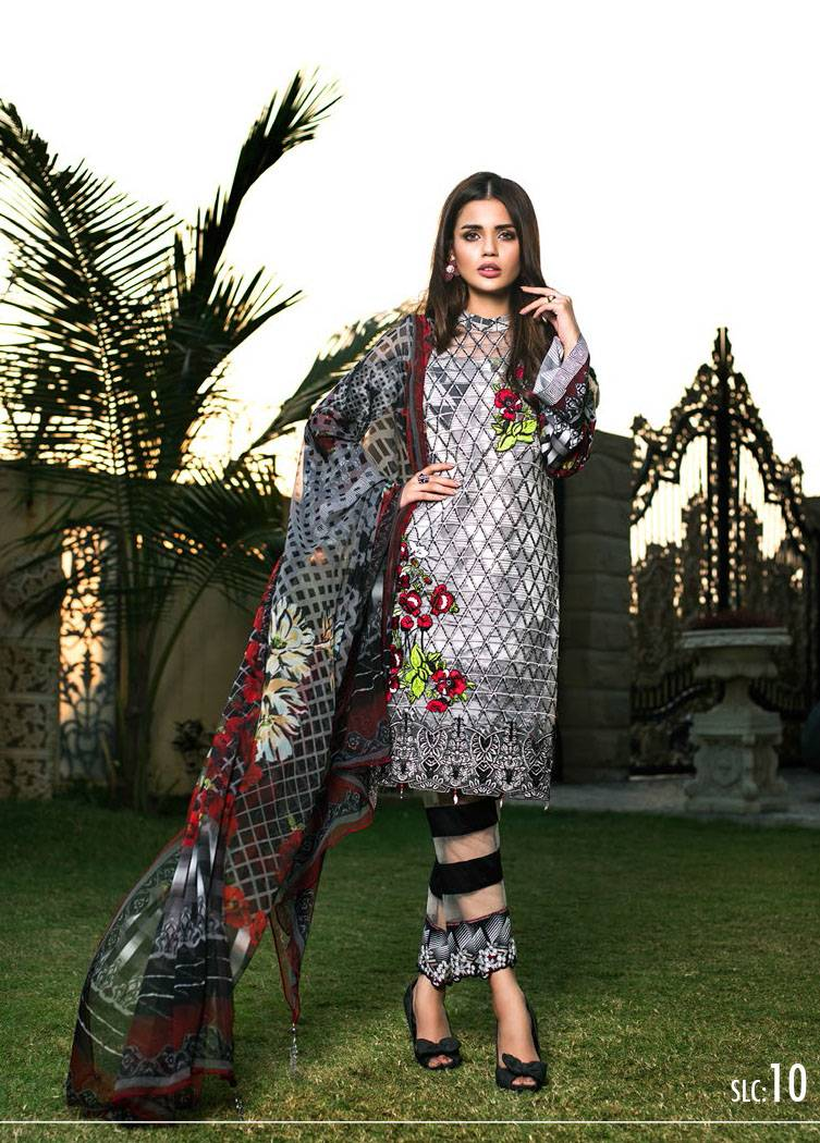 Sifona Embroidered Linen Unstitched 3 Piece Suit SF17W 10
