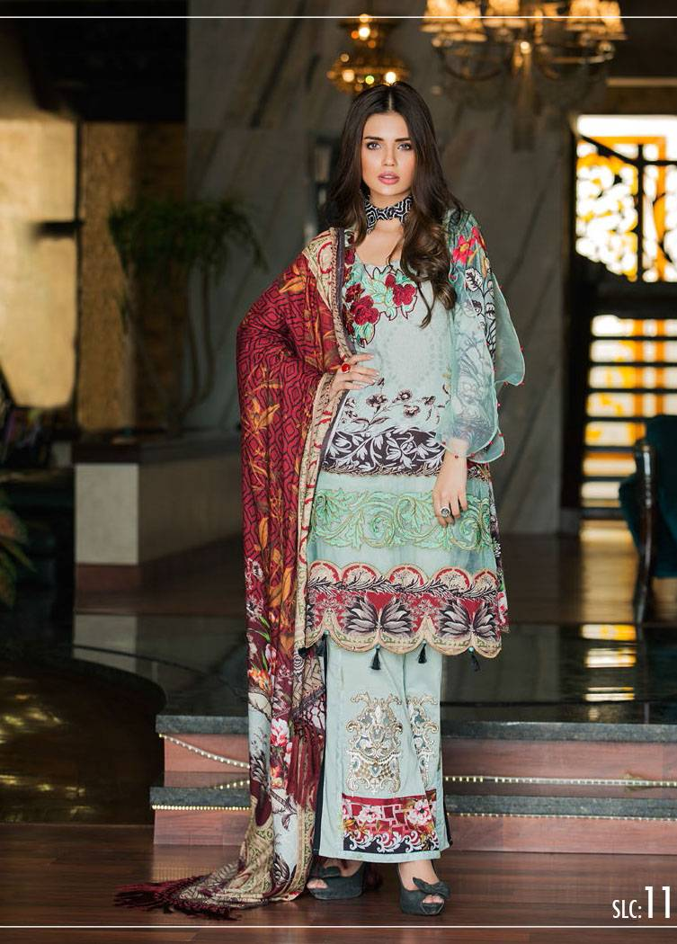Sifona Embroidered Linen Unstitched 3 Piece Suit SF17W 11