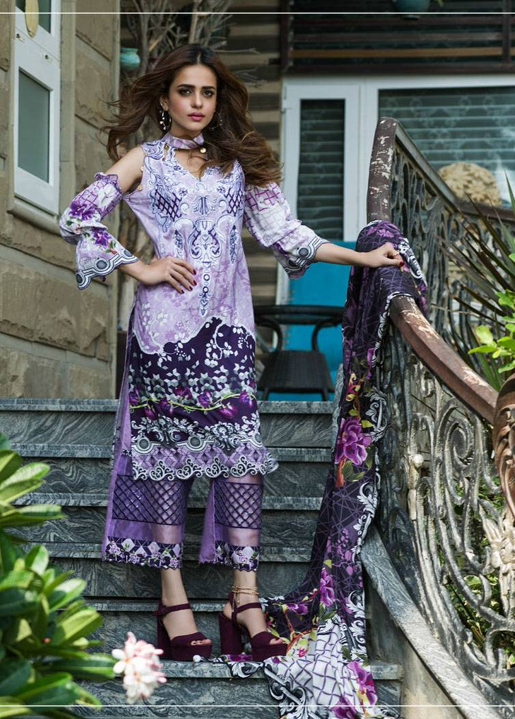 Sifona Embroidered Linen Unstitched 3 Piece Suit SF17W 12