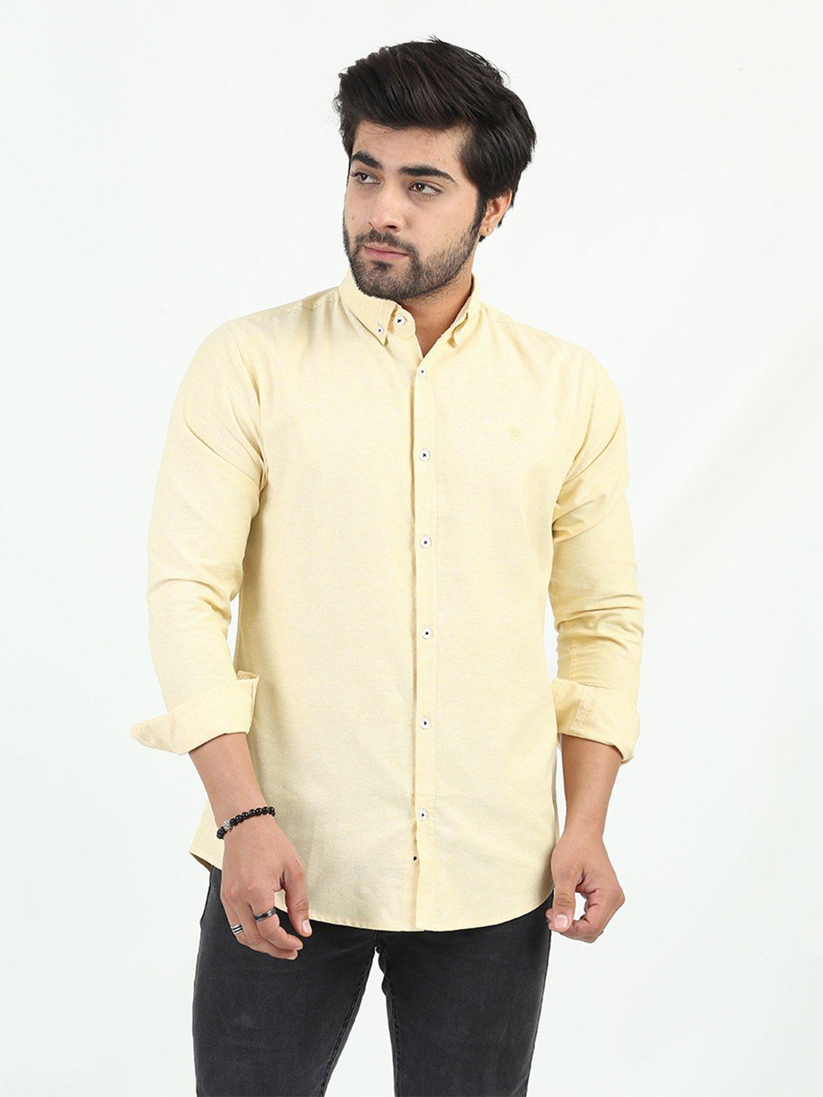 Shahzeb Saeed Cotton Casual Men Shirts - LEMON CSW-208