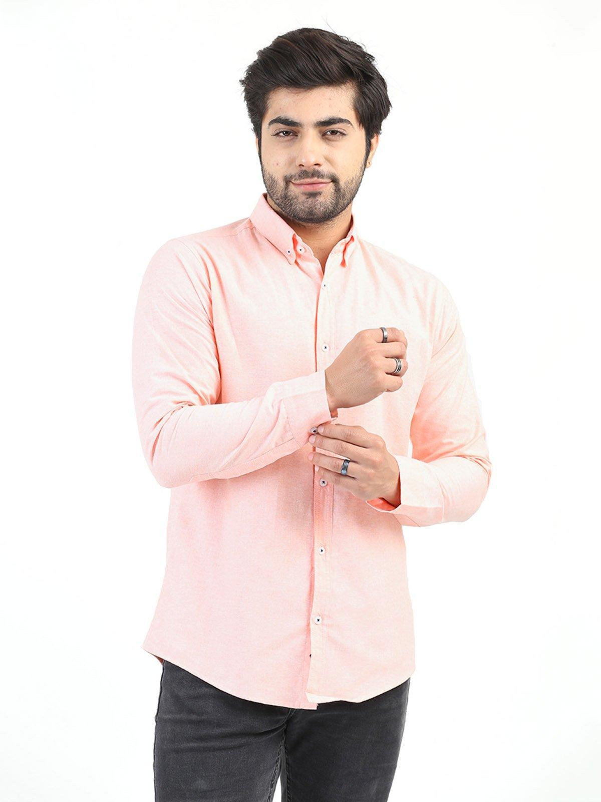 Shahzeb Saeed Cotton Casual Shirts for Men - PEACH CSW-211