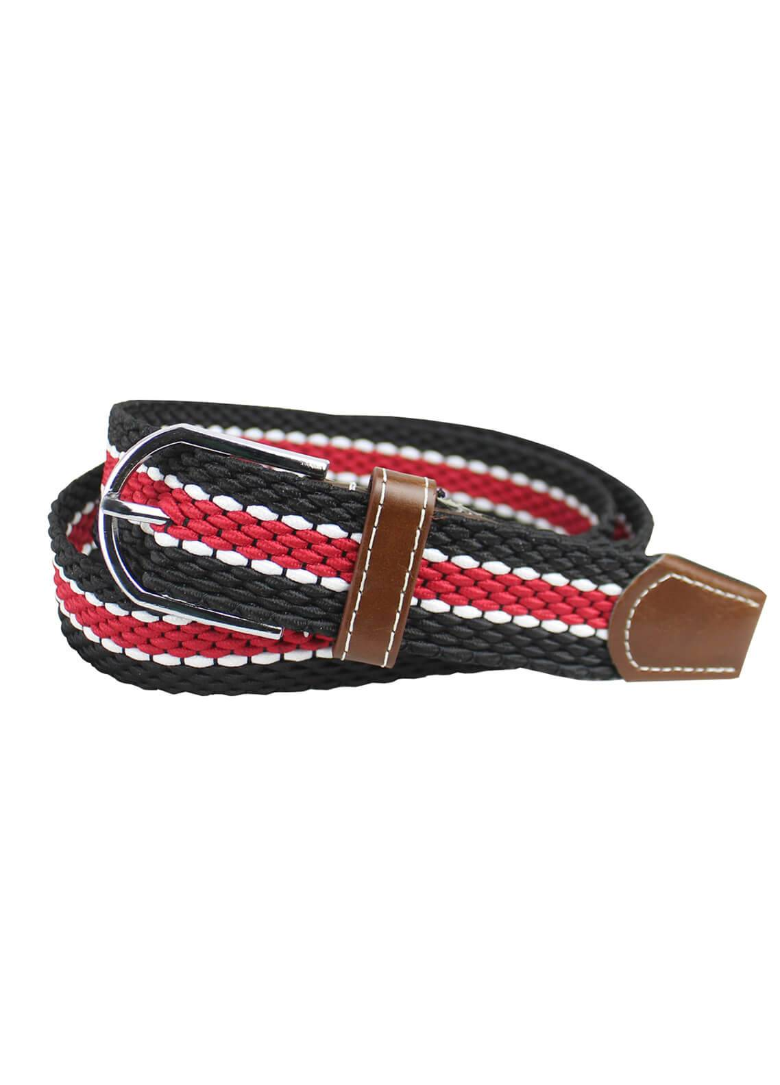 Shahzeb Saeed Textured Leather Men Belts BELT-136 Red & Black - Casual Accessories