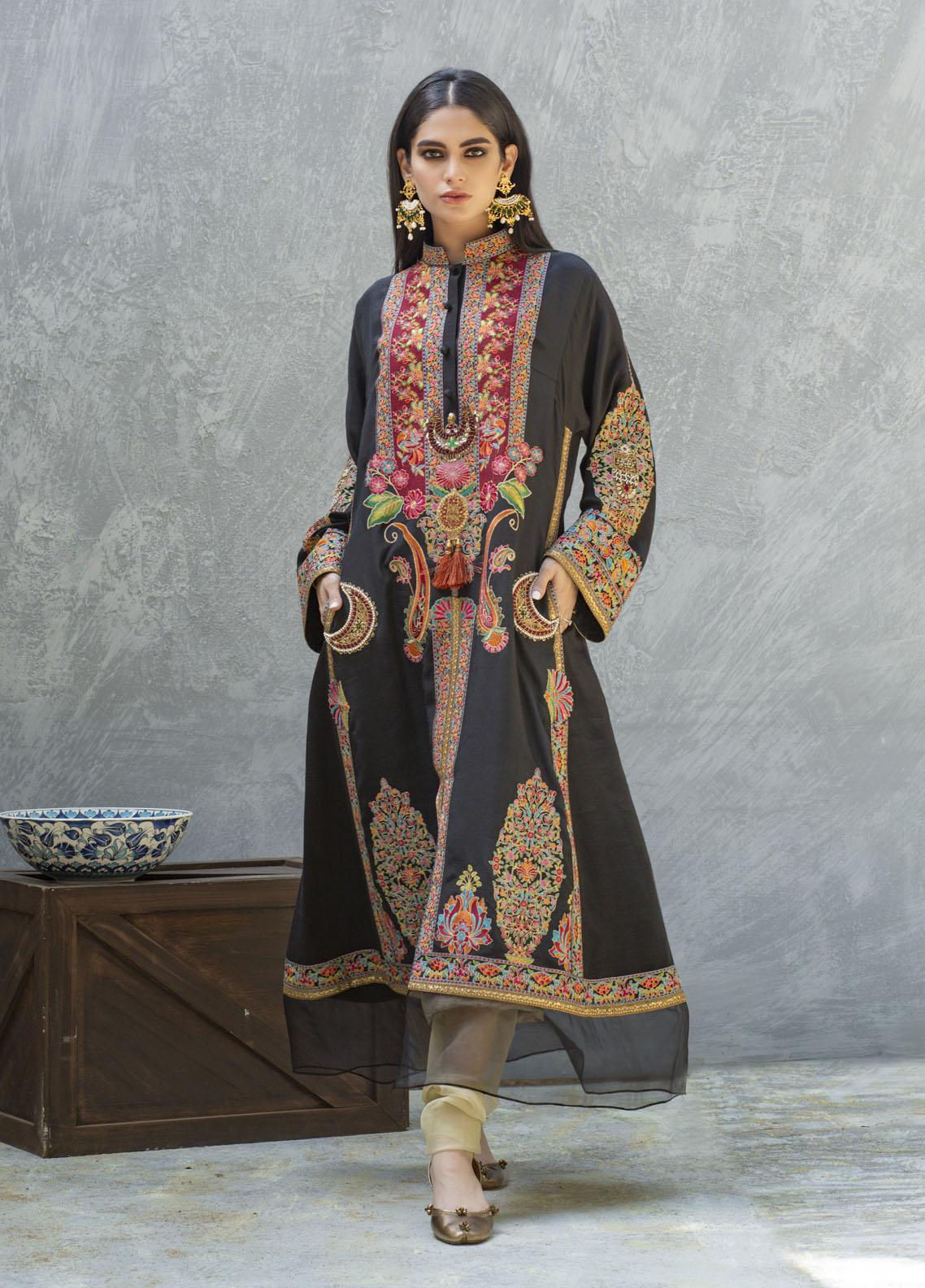 Shamaeel Ansari Luxury Pret  Silk Shirt SW-Ethnic black