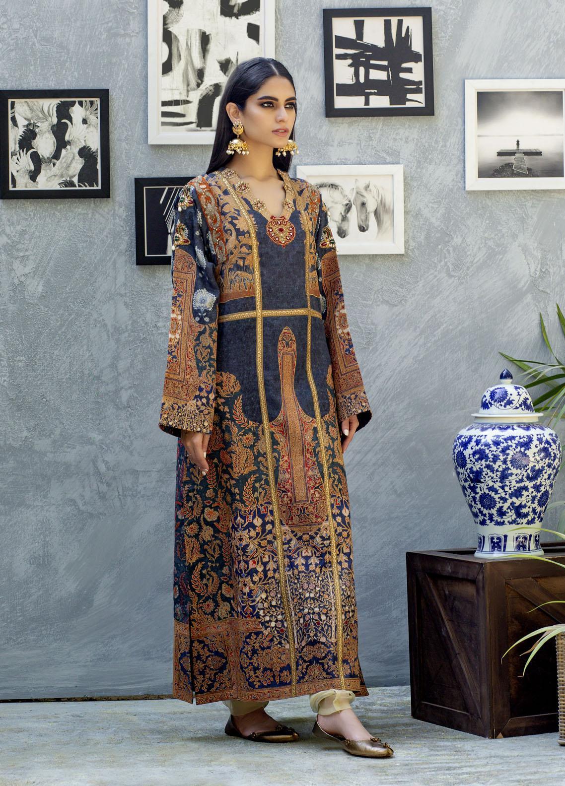 Shamaeel Ansari Luxury Pret  Silk Shirt SW-NV 8