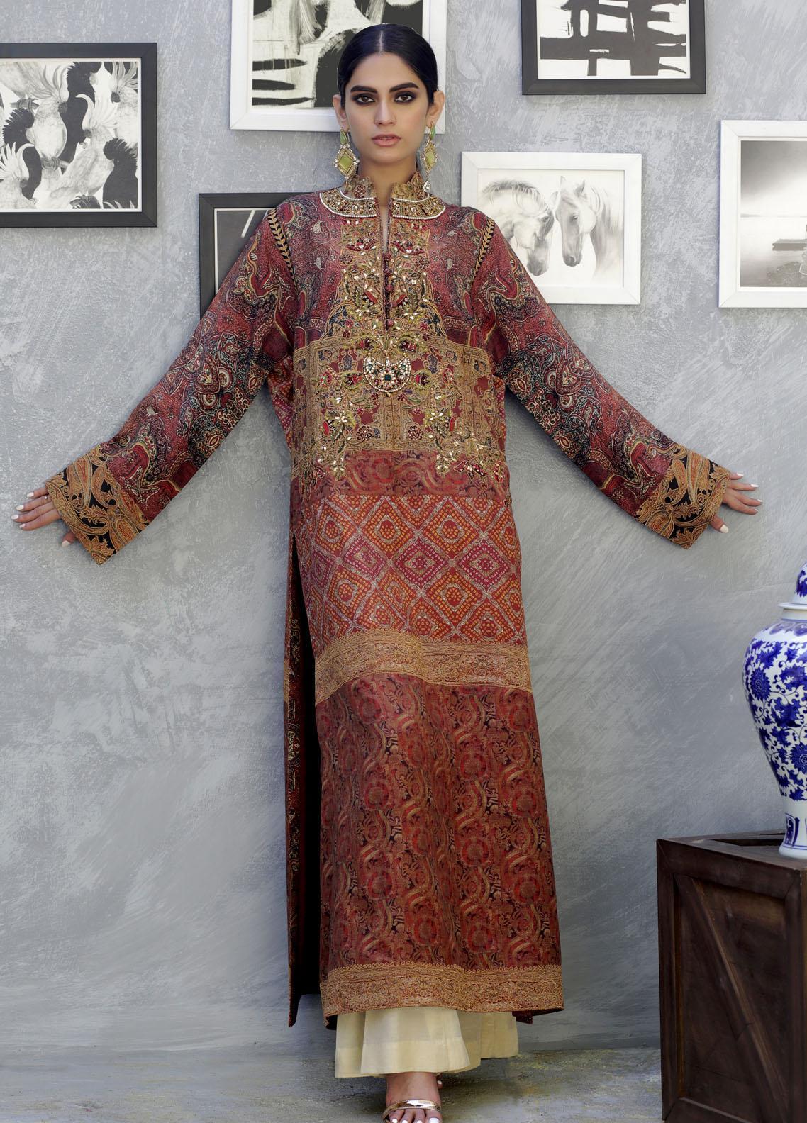 Shamaeel Ansari Luxury Pret  Silk Shirt SW-NV 4