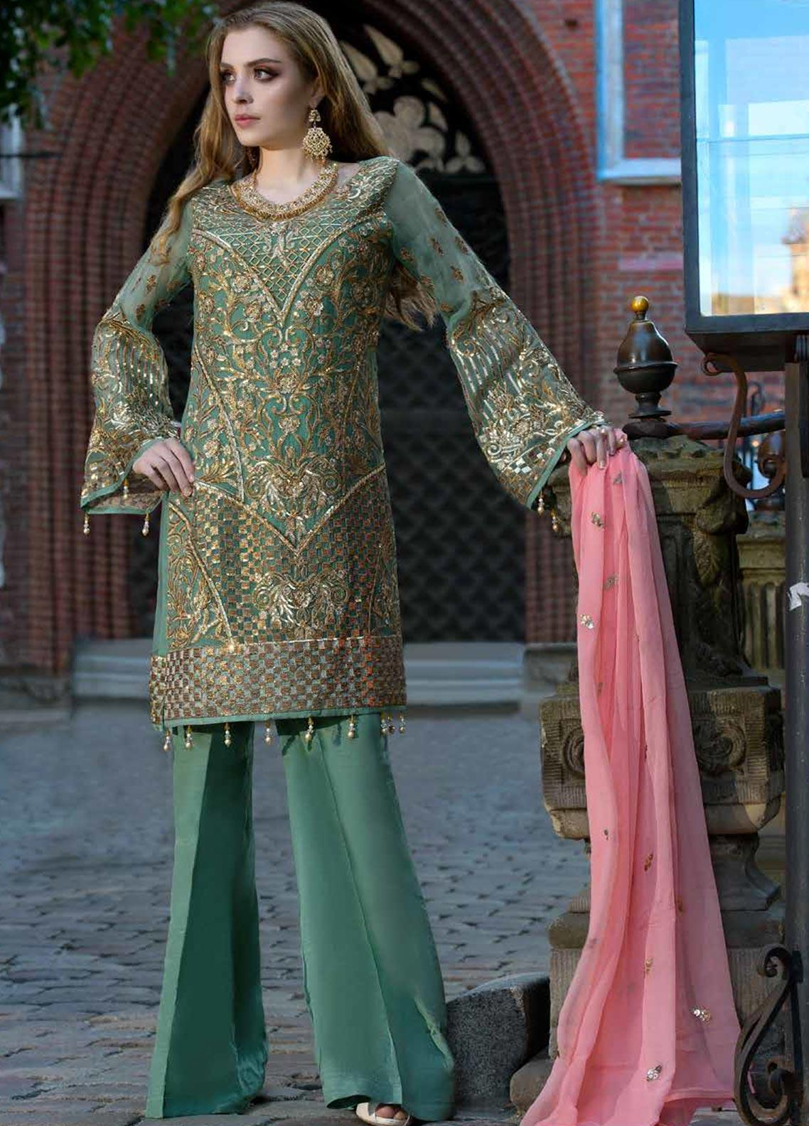 Shamrock by Maryum N Maria Embroidered Chiffon Unstitched 3 Piece Suit SMM19W 01 - Wedding Collection