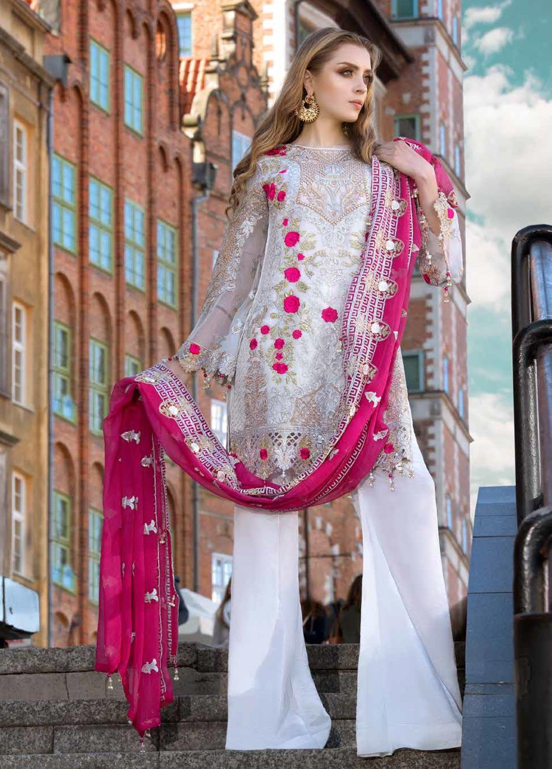 Shamrock by Maryum N Maria Embroidered Chiffon Unstitched 3 Piece Suit SMM19W 06 - Wedding Collection