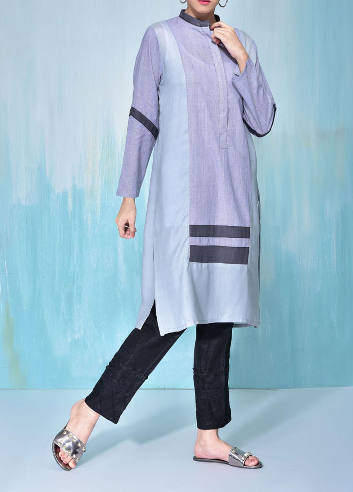Sheep Casual Cotton Silk Stitched Kurti SB200238 CHAMRAY BLUE