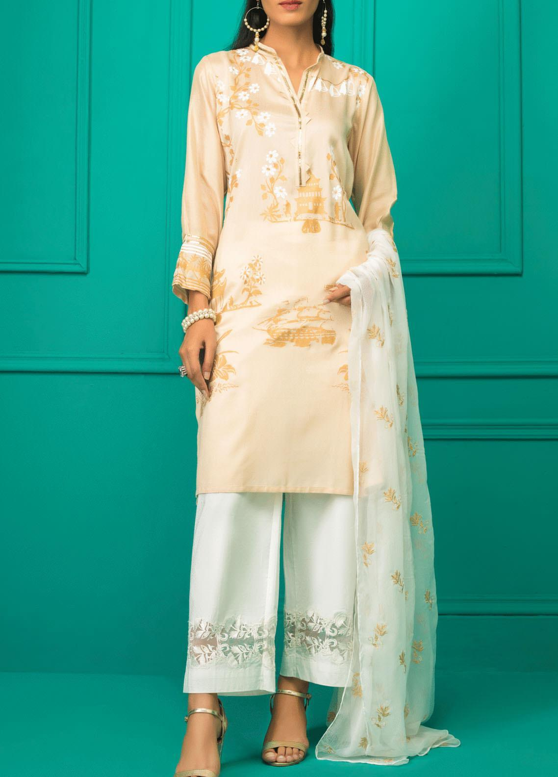Sheep Casual Cotton Net Stitched 2 Piece Suit SC300038 FAWN