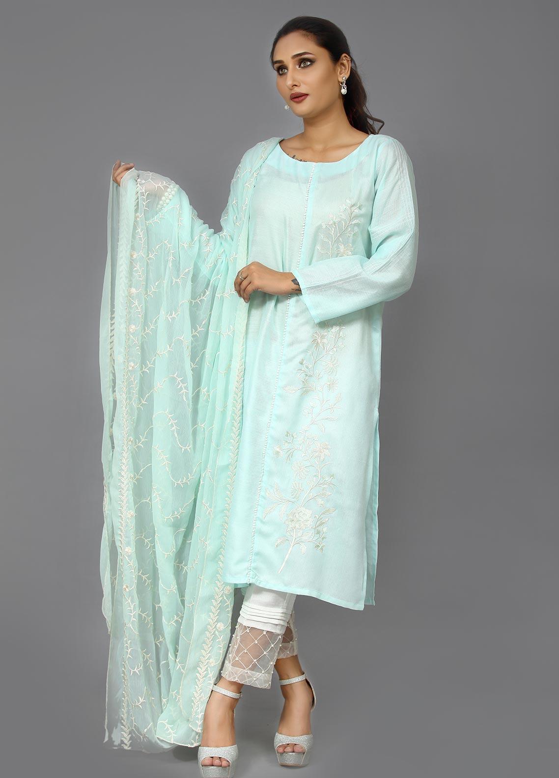Sheep Casual Cotton Net Stitched 2 Piece Suit SC200378 Mint