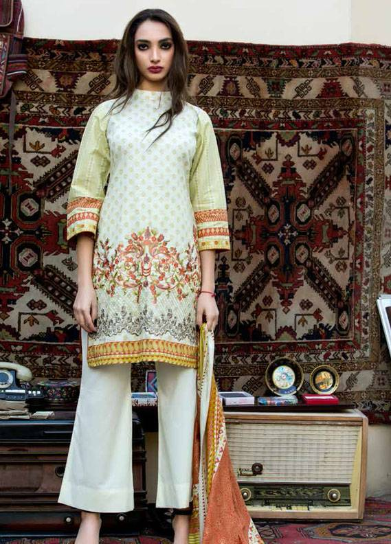 Signature Icon Embroidered Cotton Unstitched 2 Piece Suit SI17W 3A