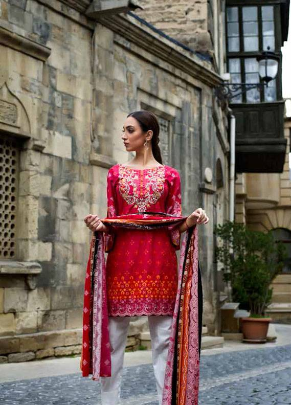 Signature Icon Embroidered Cotton Unstitched 2 Piece Suit SI17W 7A