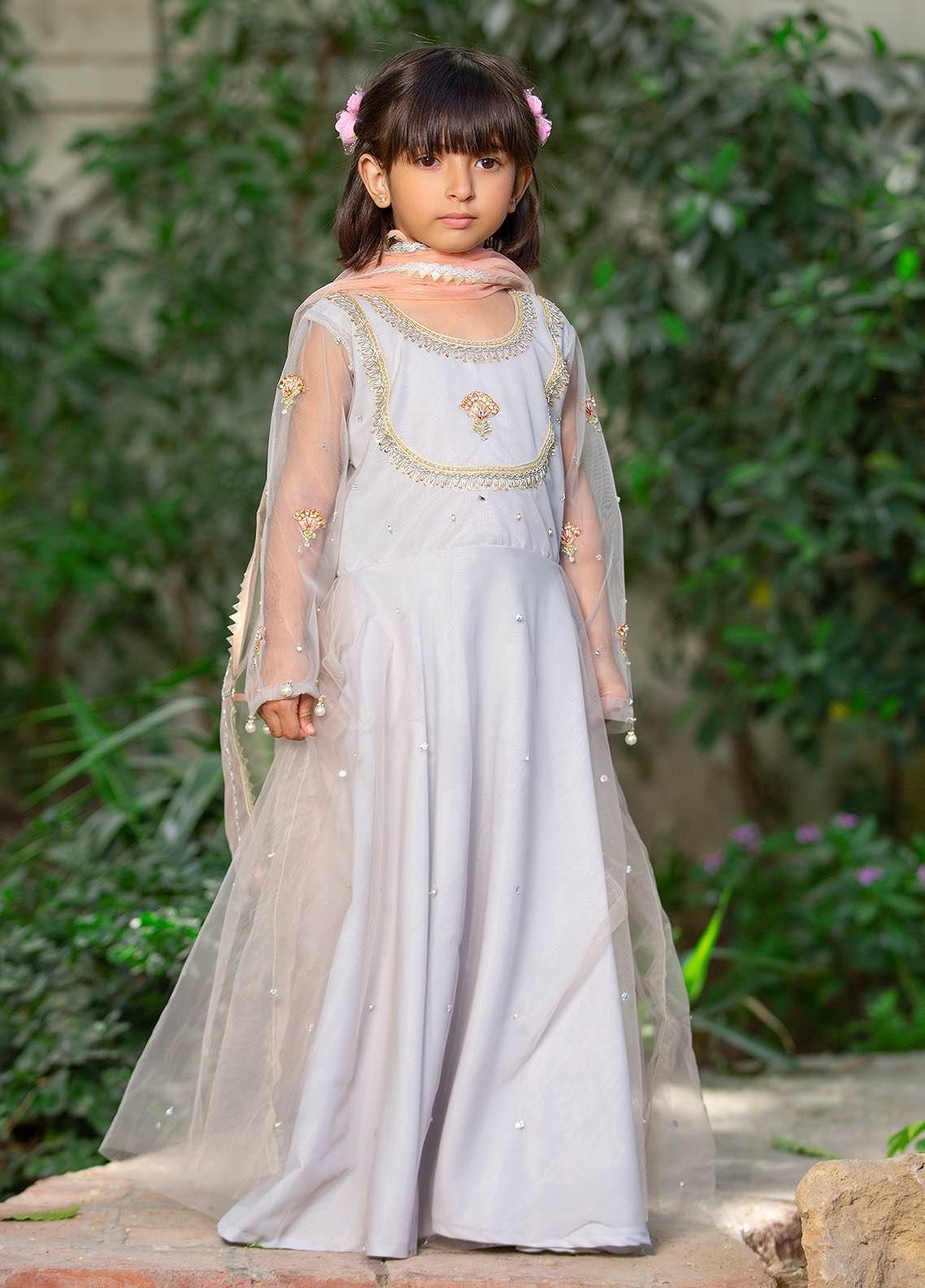 Sidra Mumtaz Net Embroidered Girls 3 Piece Suit -  2103-S7K-PC Peach Cloud (K)