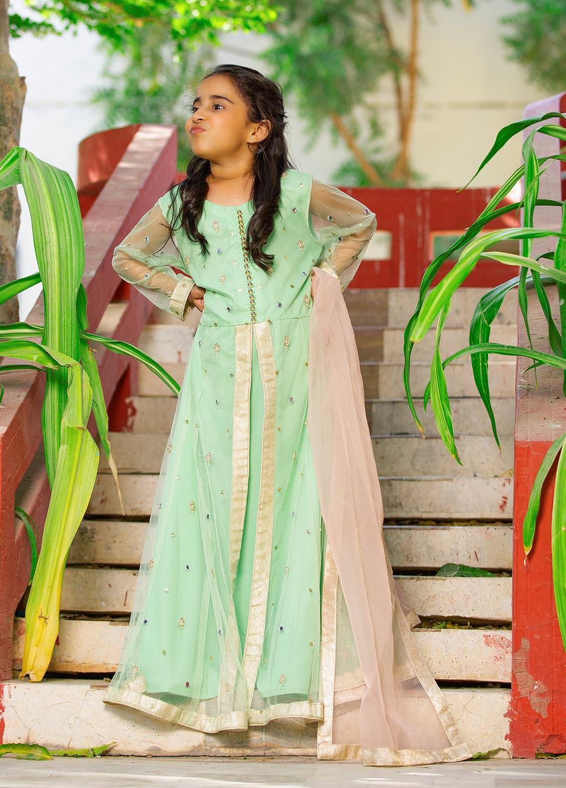 Sidra Mumtaz Net Embroidered 3 Piece Suit for Girls -  2103-S8K-FP Fern Peach (K)