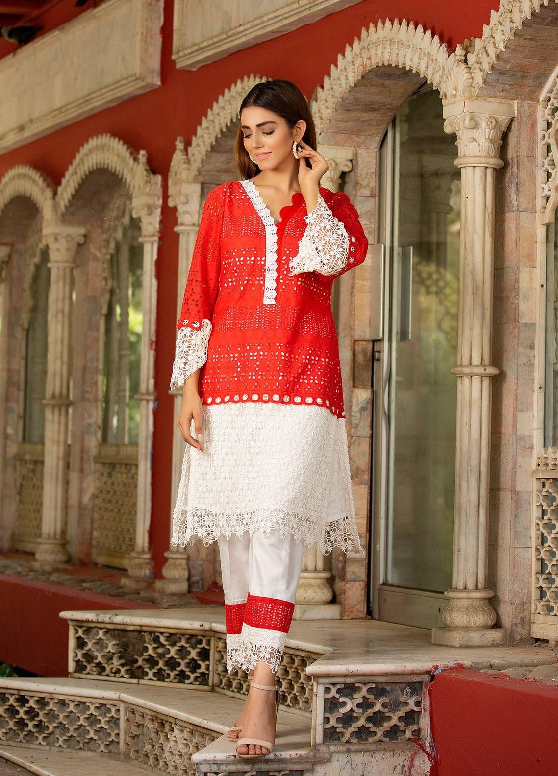 Sidra Mumtaz Embroidered Cotton Silk Stitched 2 Piece Suit 2103-S1-RR ROSE RING