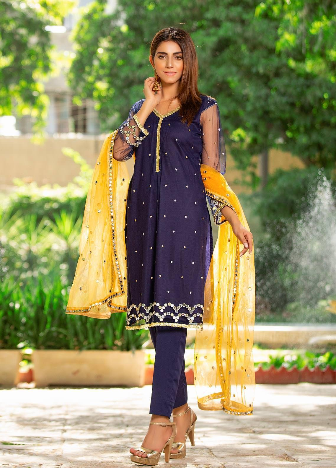 Sidra Mumtaz Embroidered Net Stitched 3 Piece Suit 2103-S6-ML Midnight Light