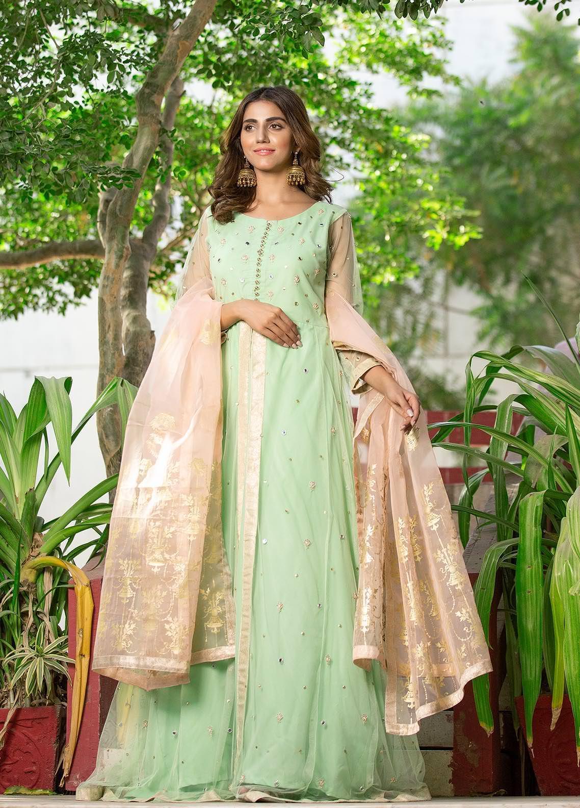 Sidra Mumtaz Embroidered Net Stitched 3 Piece Suit 2103-S8-FP Fern Peach