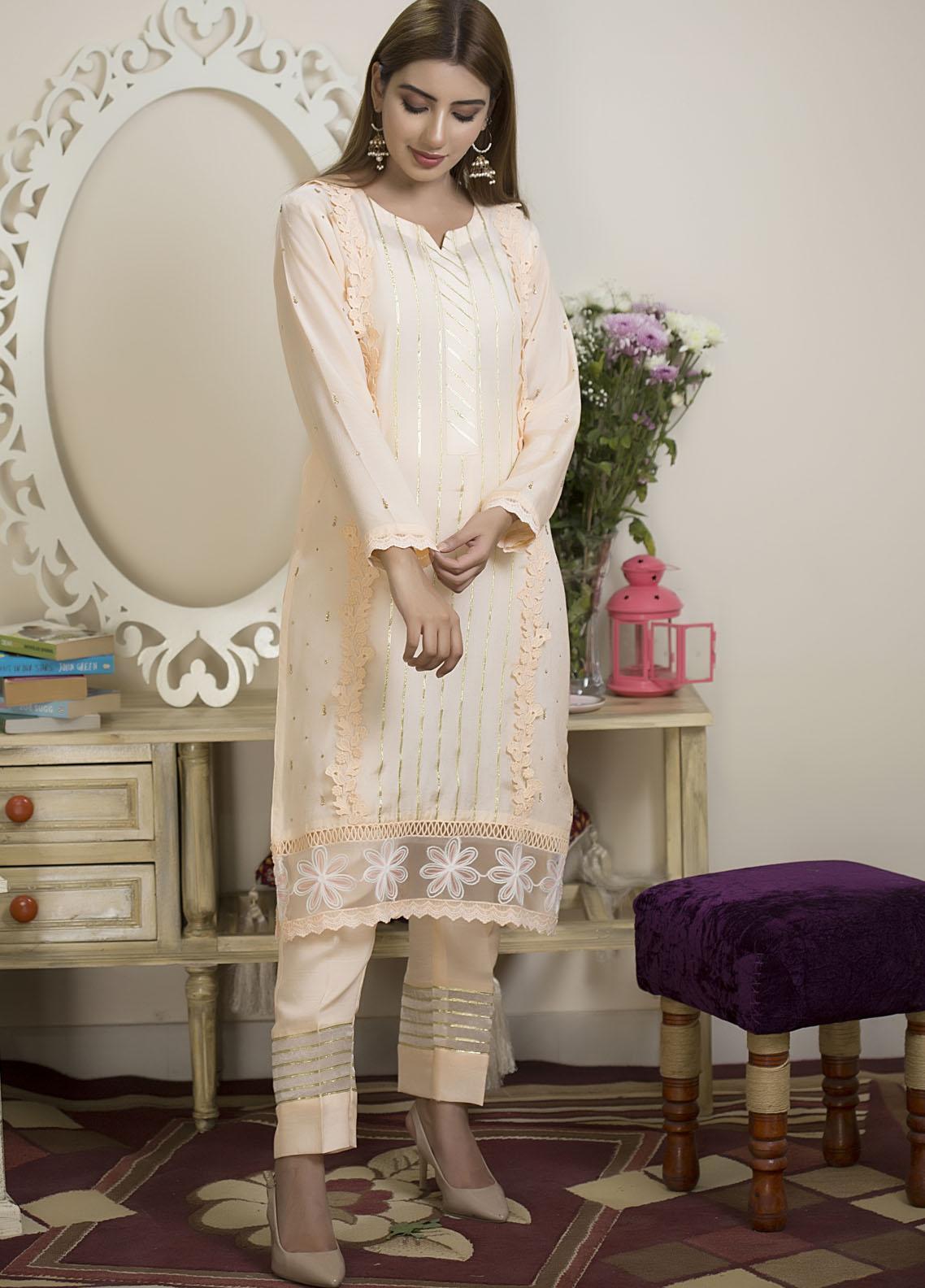 Sidra Mumtaz Luxury Pret Kattan 2 Piece Suit Blush