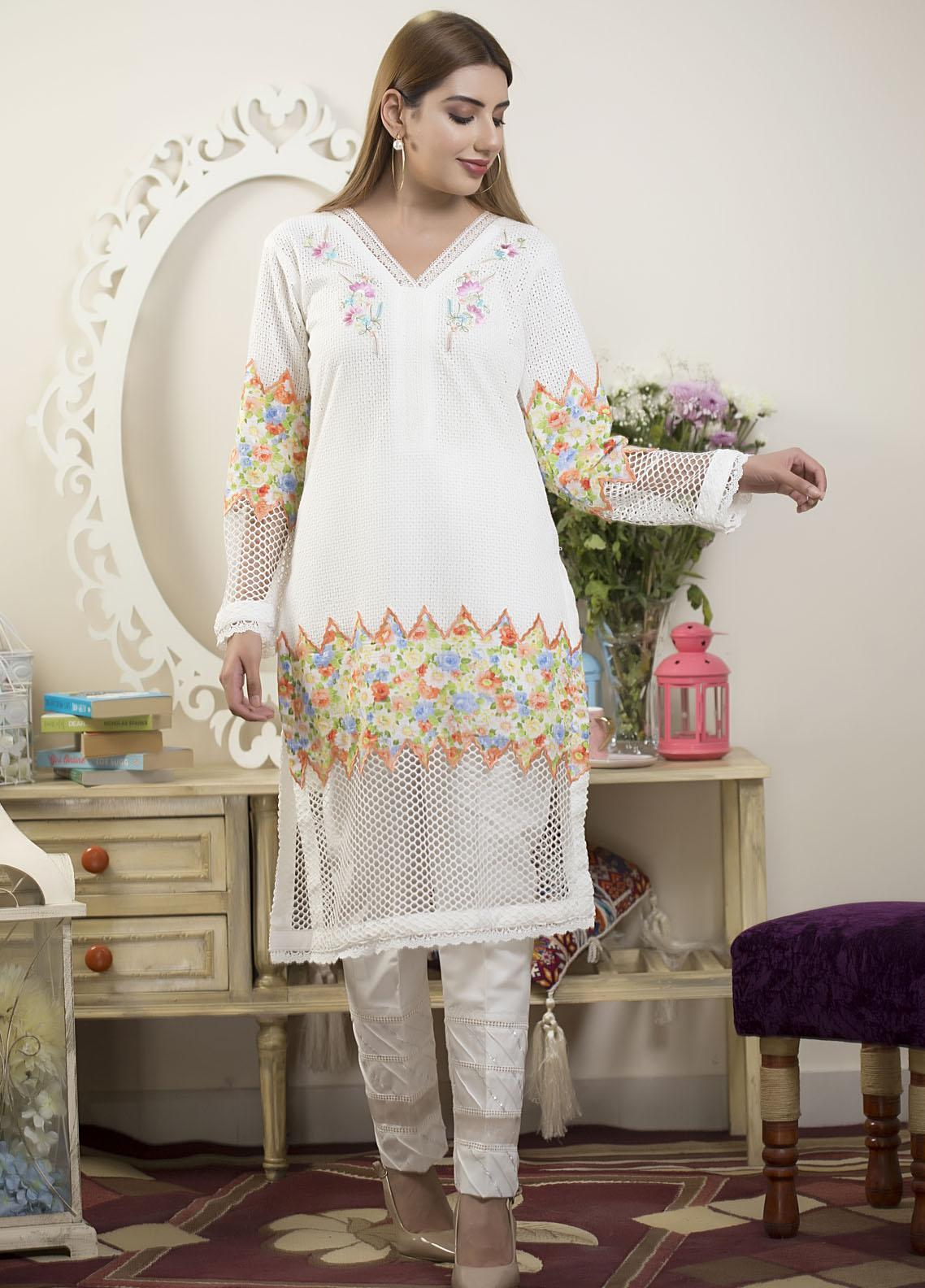 Sidra Mumtaz Luxury Pret  Lawn Shirt Color Canvas