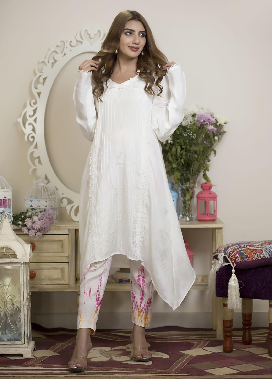 Sidra Mumtaz Luxury Pret  Raw Silk 2 Piece Suit Color Splash
