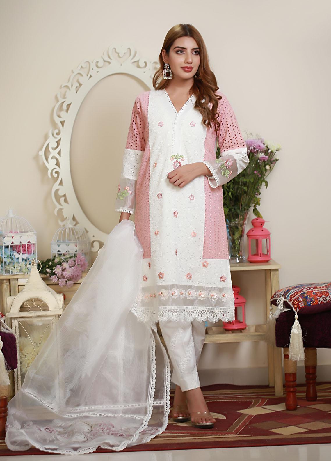 Sidra Mumtaz Luxury Pret  Raw Silk 3 Piece Suit Jaldec Pink
