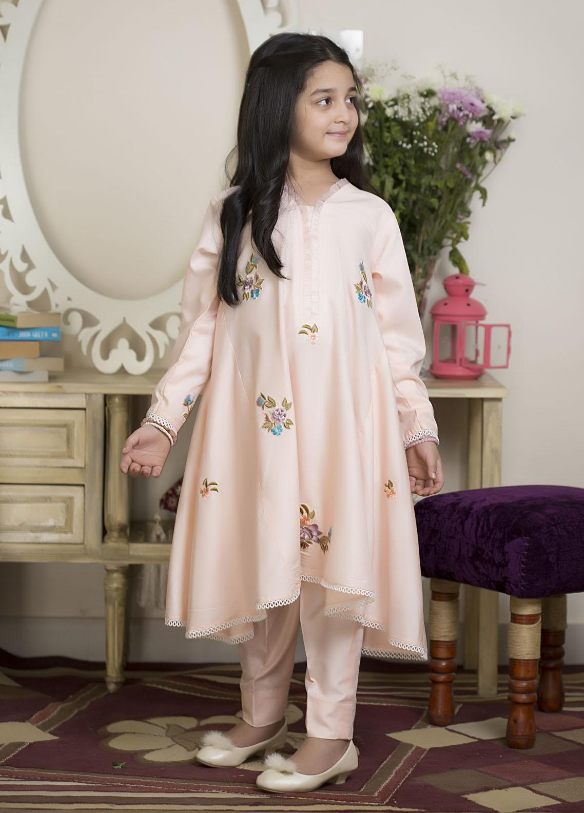 Sidra Mumtaz Luxury Pret  Raw Silk 3 Piece Suit Orchid Bloom Pink (Kids)