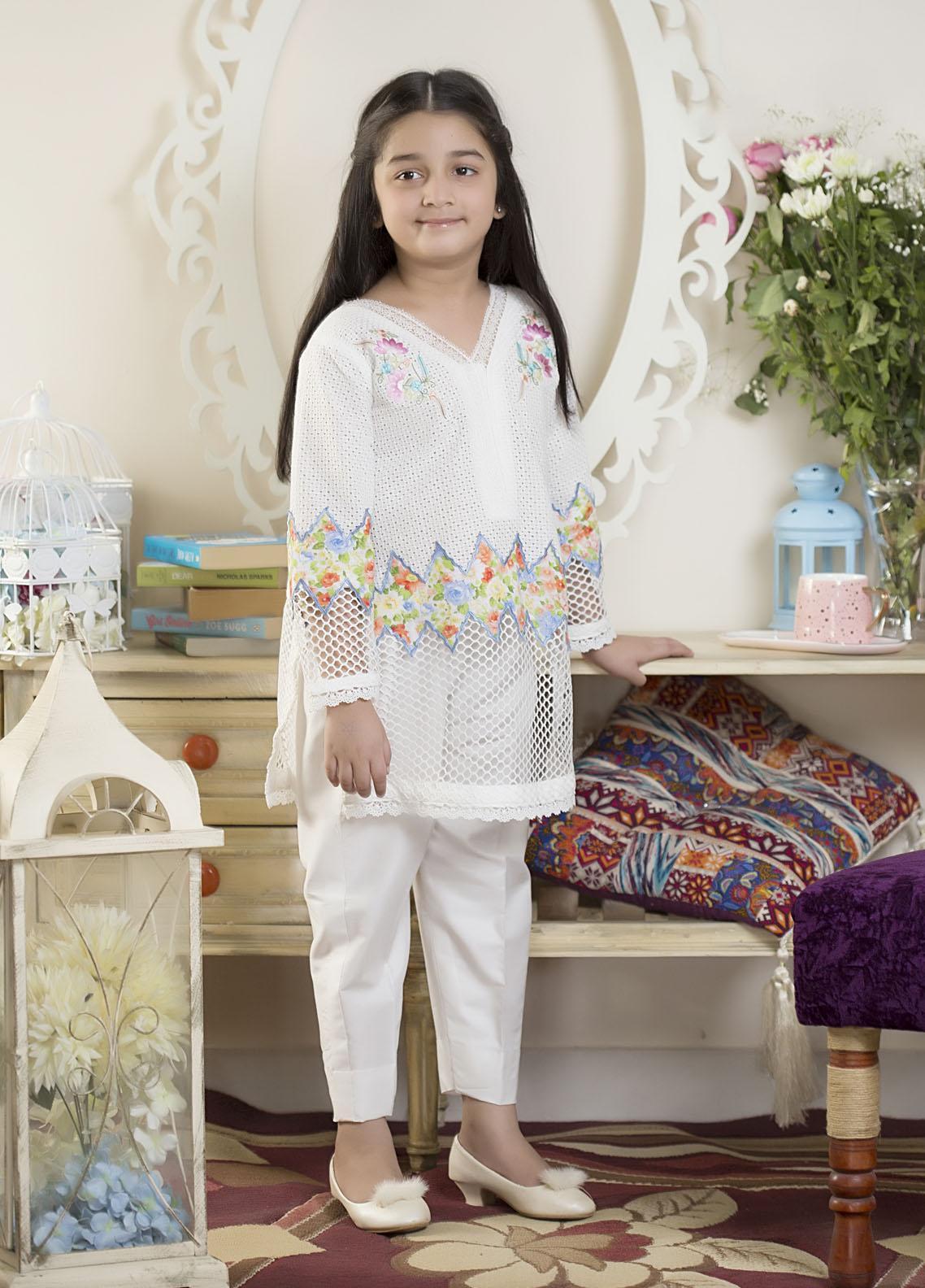 Sidra Mumtaz Luxury Pret  Net 2 Piece Suit Color Canvas-Kids
