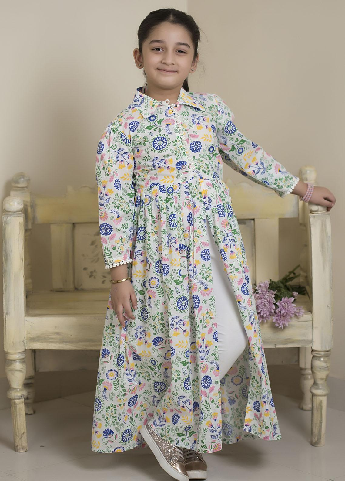 Sidra Mumtaz Luxury Pret  Cotton Silk 2 Piece Suit Floral Bloom (Kids)