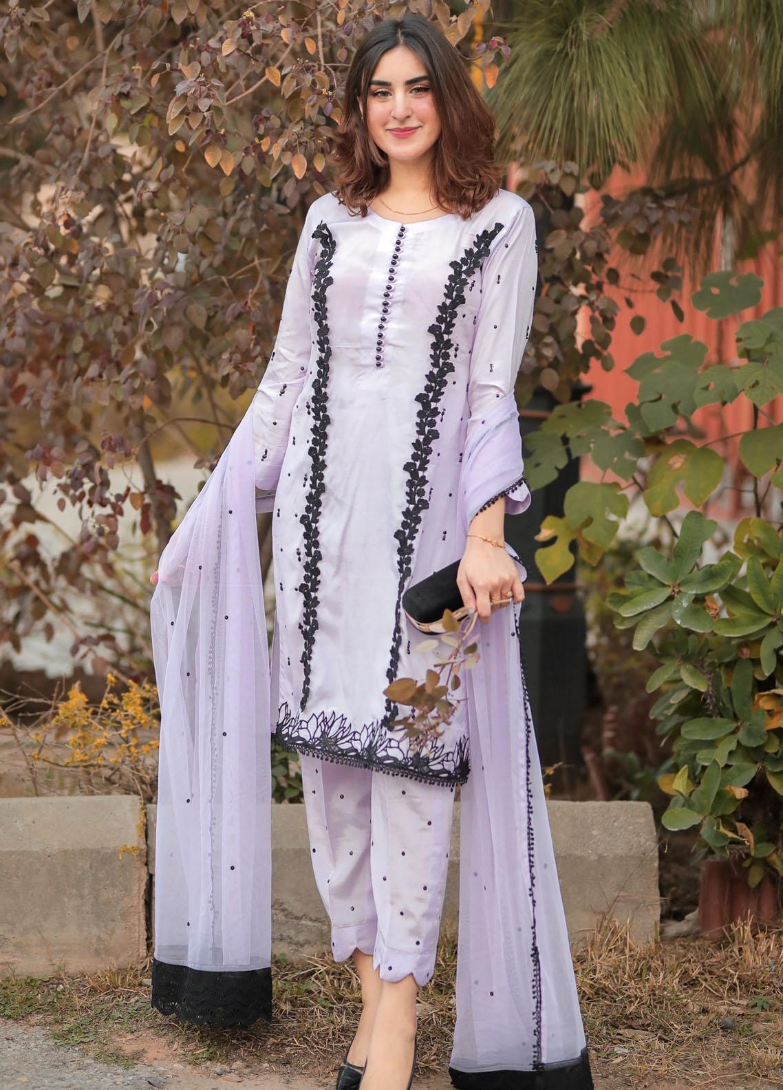 Sidra Mumtaz Embroidered Raw Silk Stitched 3 Piece Suit SM20PB 03 Bubble Craze- Lavender